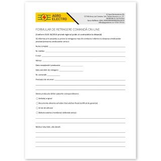 Formular de retragere comandă