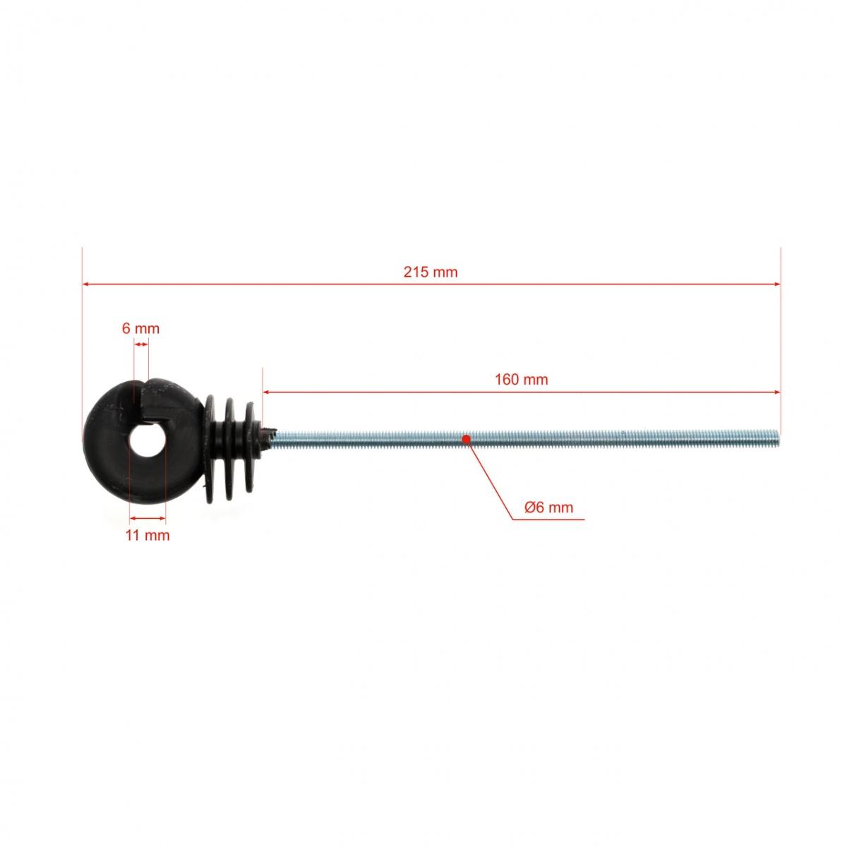 Izolator inelar lung 160mm cu picior metric M6