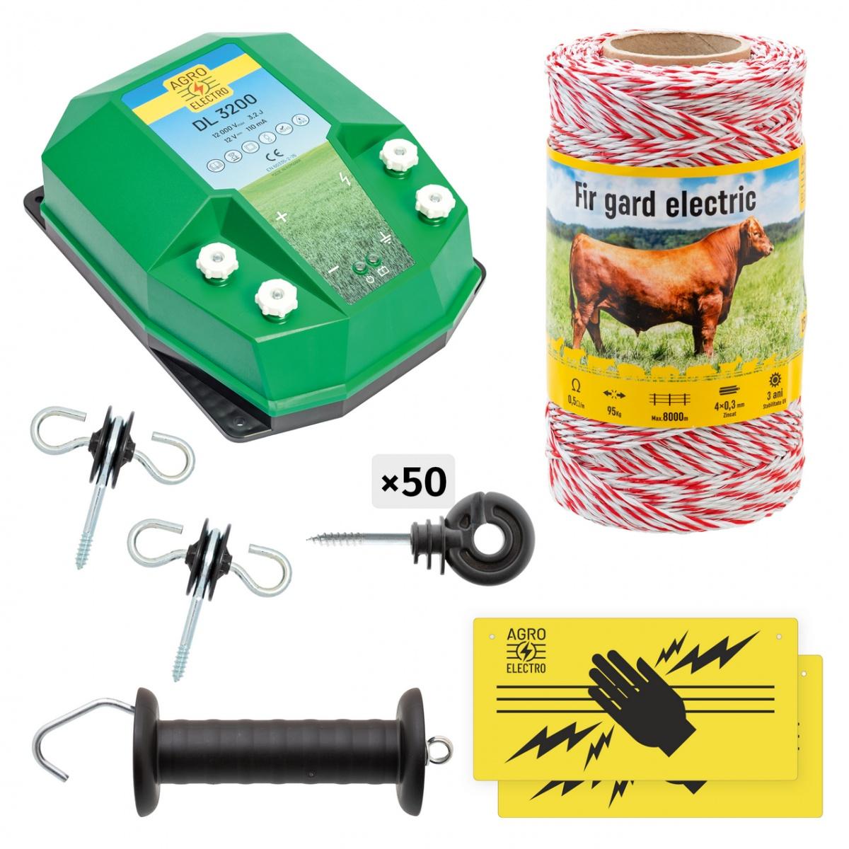 Pachet de bază gard electric 250m, 3,2Joule, pentru animale domestice