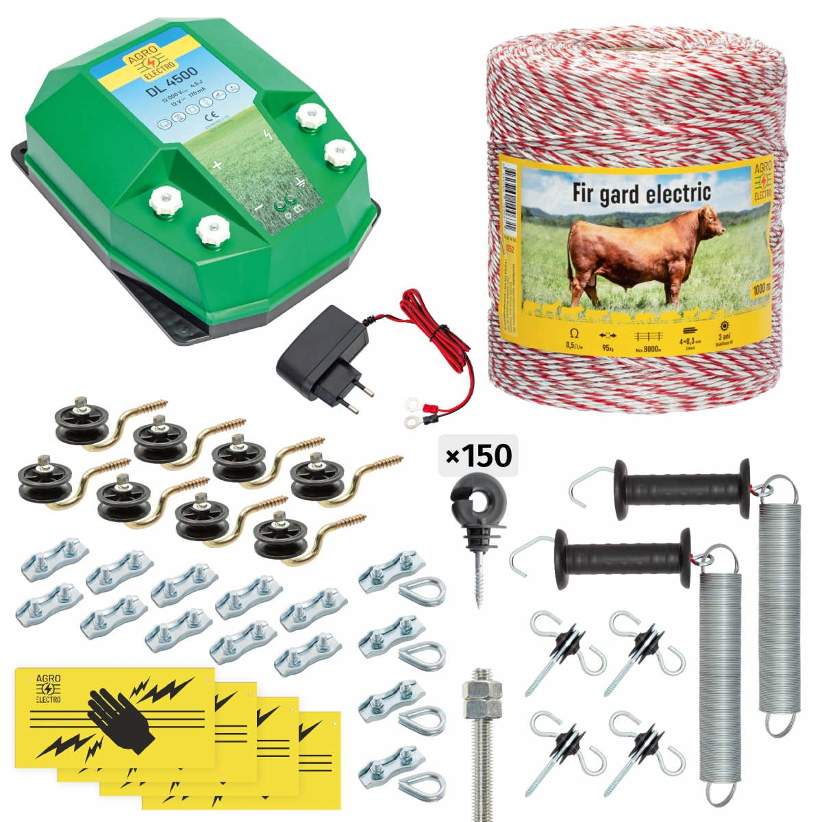 Pachet gard electric complet 1000m, 4,5 Joule, 230V, pentru animale domestice