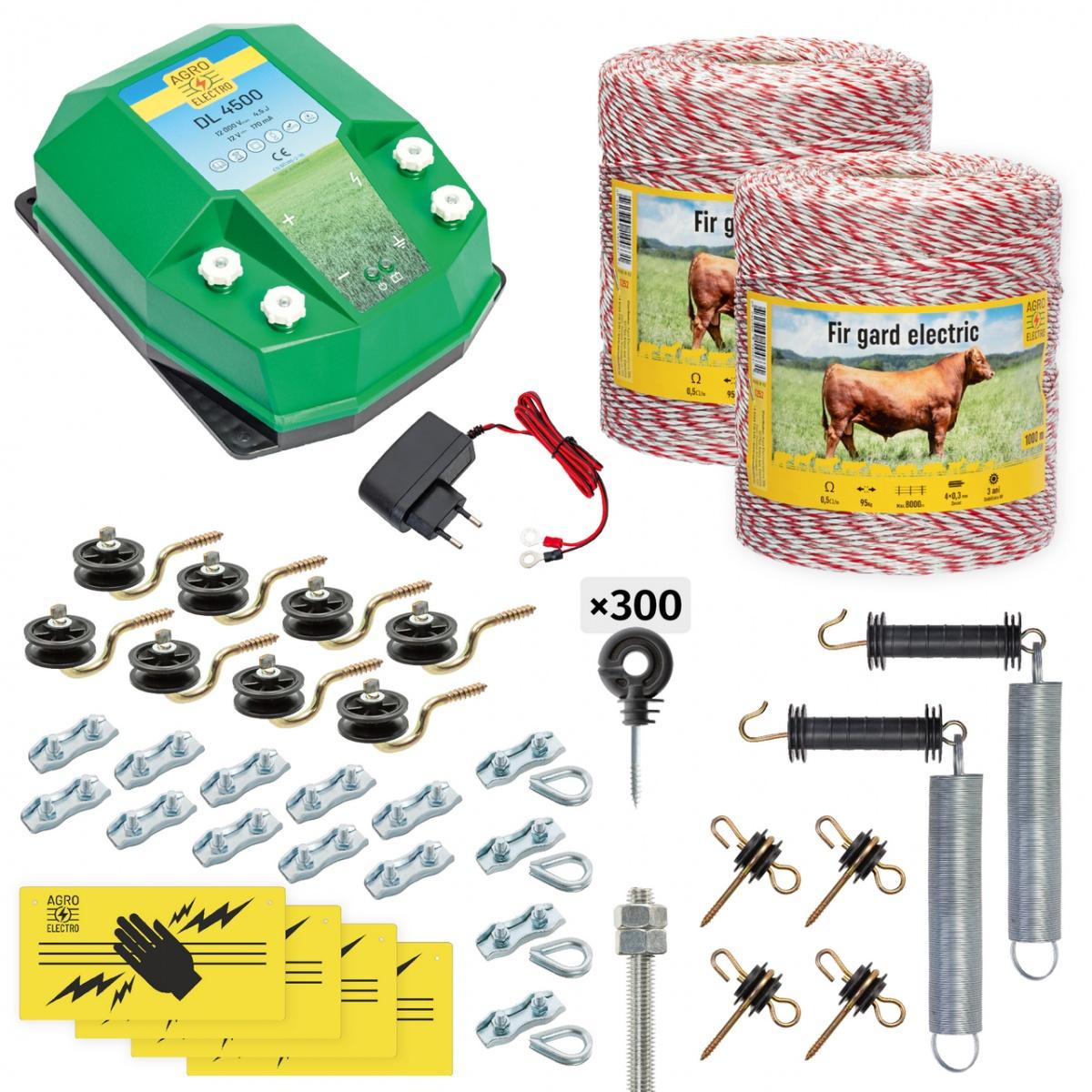 Pachet gard electric complet 2000m, 4,5 Joule, 230V, pentru animale domestice