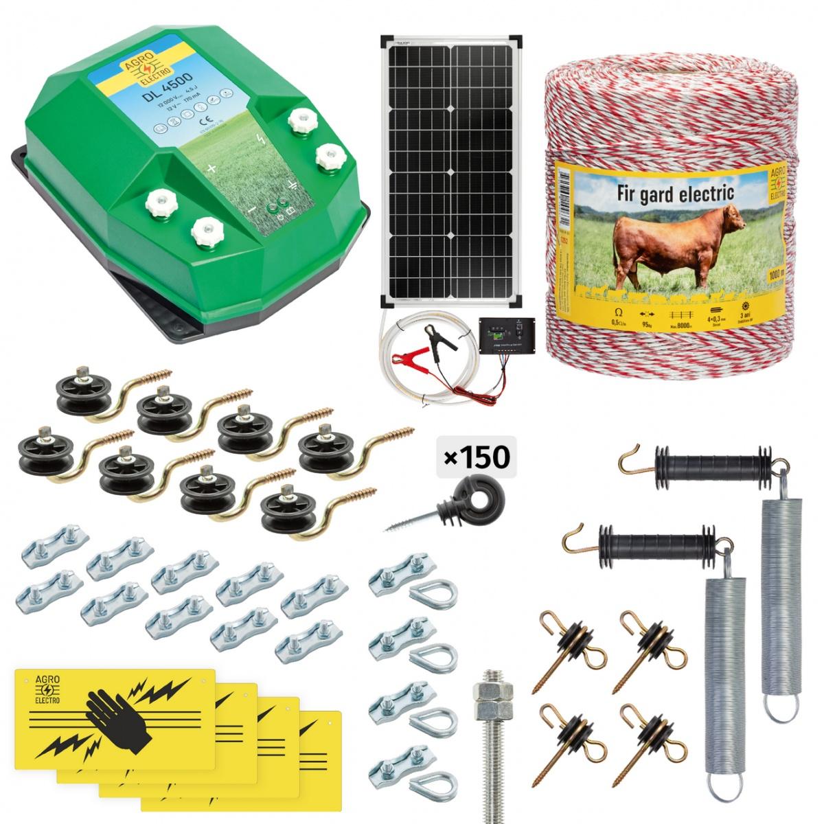 Pachet gard electric complet 1000m, 4,5Joule, cu sistem solar, pentru animale domestice