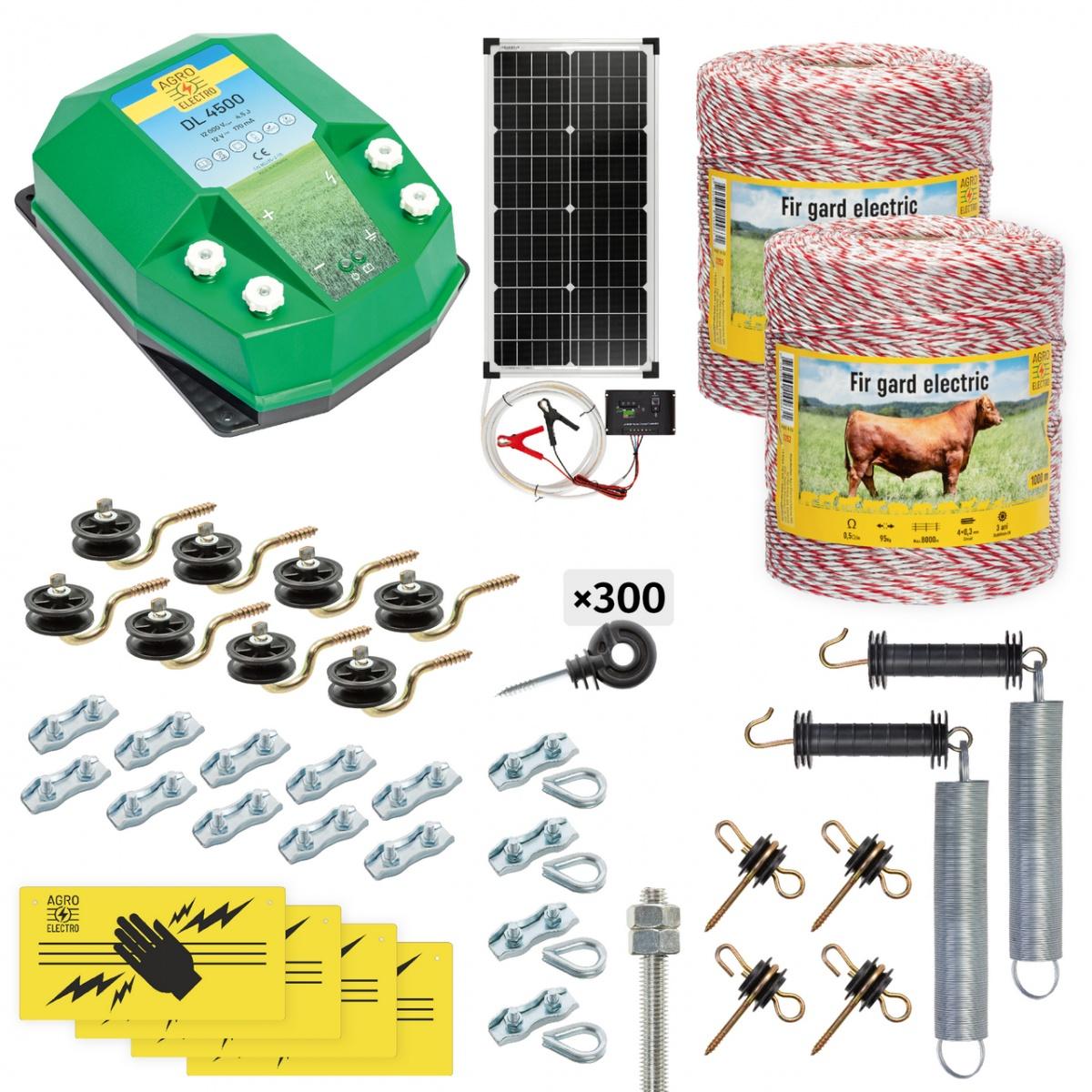 Pachet gard electric complet 2000m, 4,5Joule, cu sistem solar, pentru animale domestice