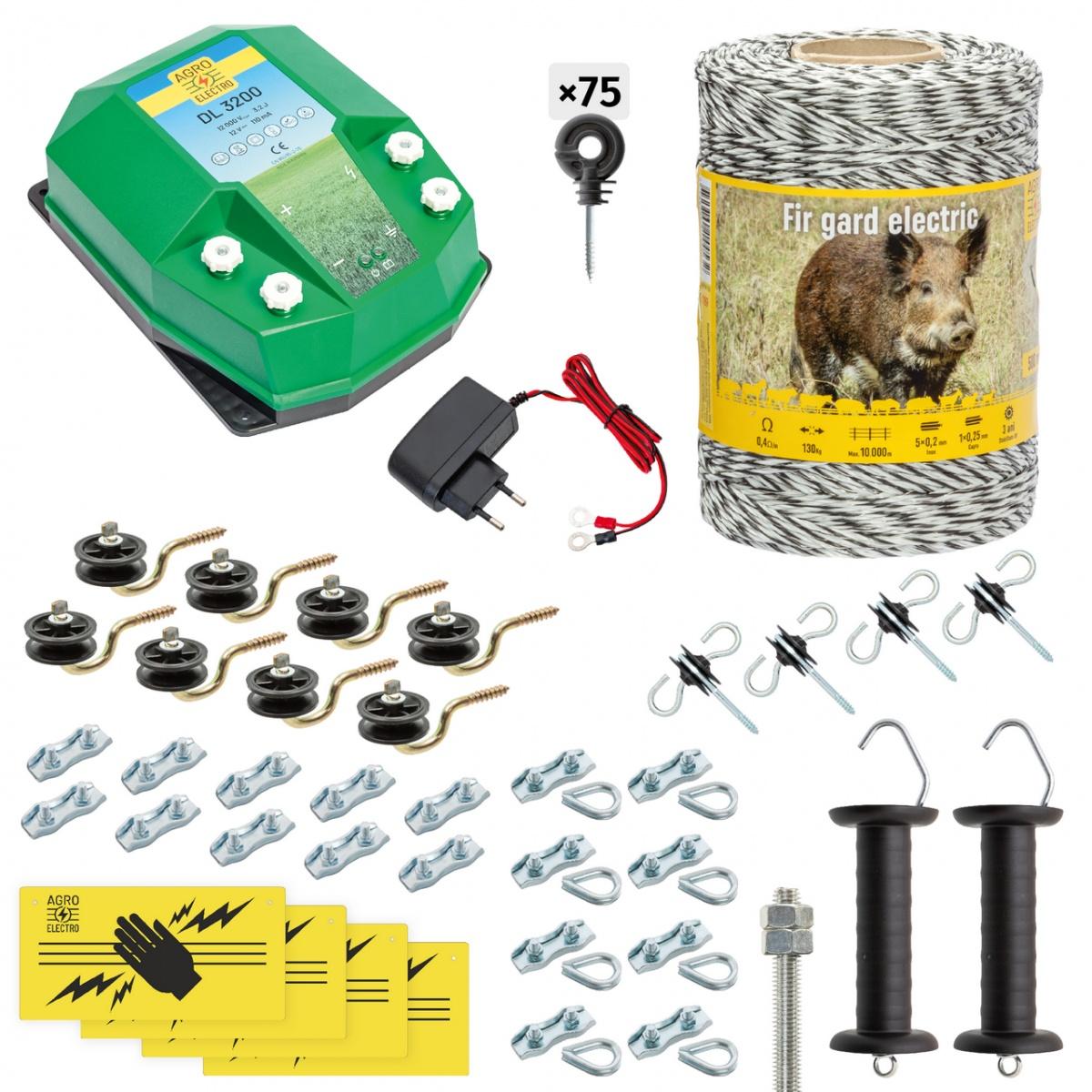 Pachet gard electric complet 500m, 3,2Joule, 230V, pentru animale sălbatice