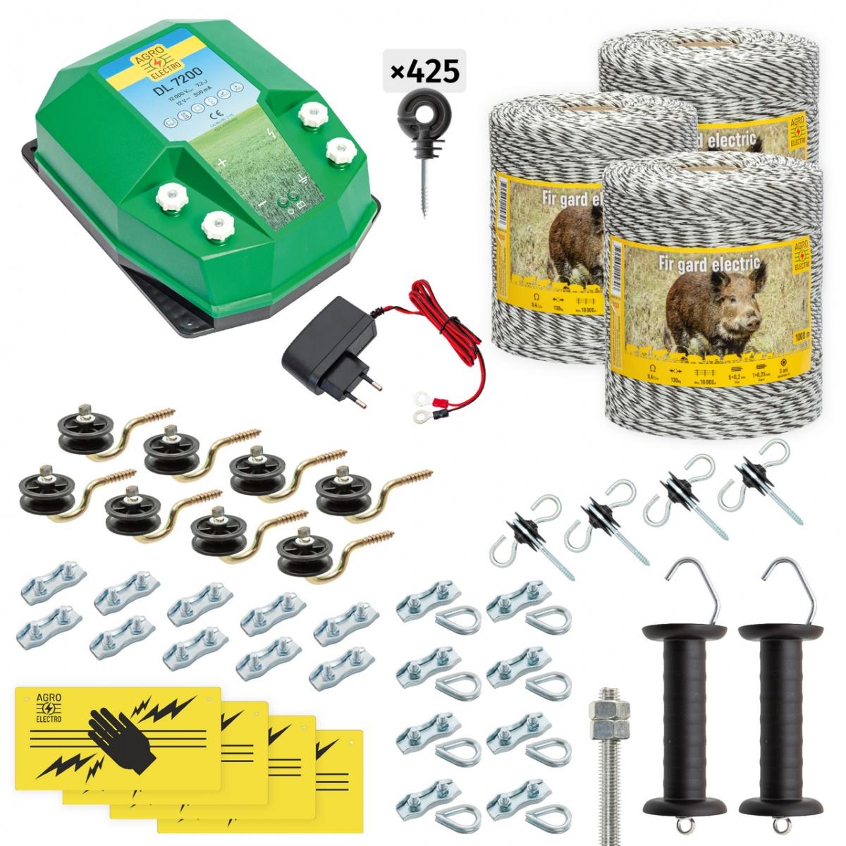 Pachet gard electric complet 3000m, 7,2Joule, 230V, pentru animale sălbatice