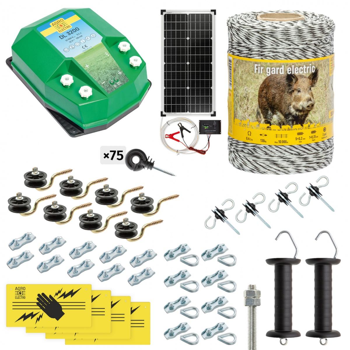 Pachet gard electric complet 500m, 3,2Joule, cu sistem solar, pentru animale sălbatice