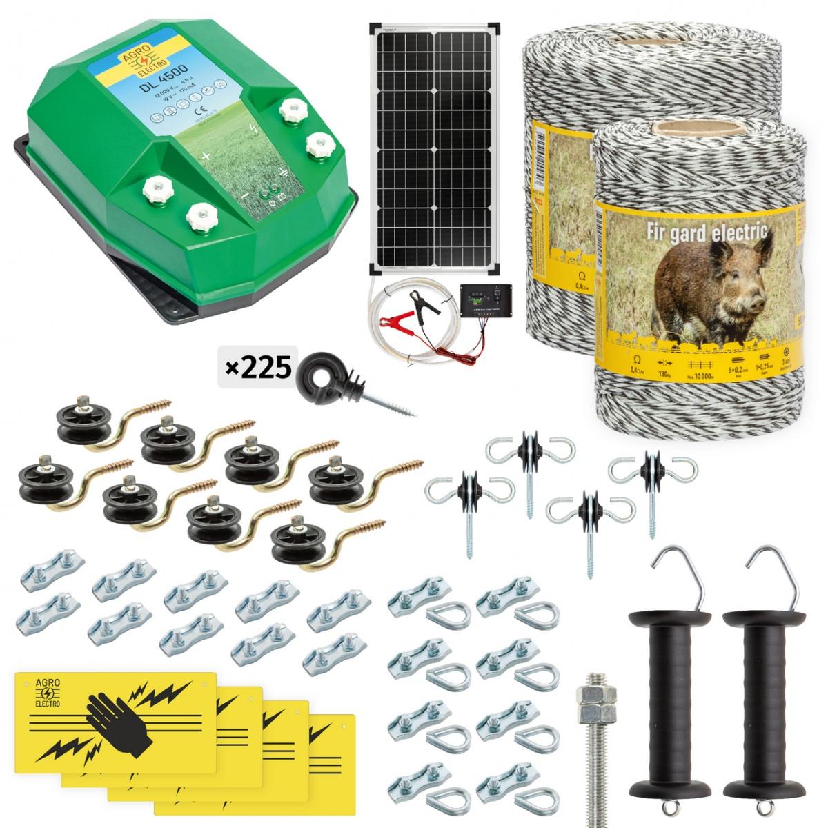 Pachet gard electric complet 1500m, 4,5Joule, cu sistem solar, pentru animale sălbatice