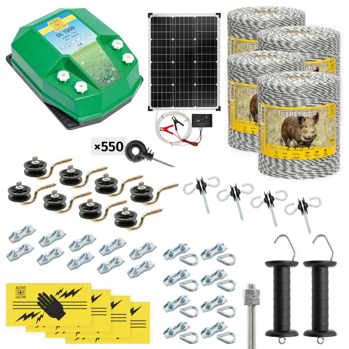 Pachet gard electric complet 4000m, 7,2Joule, cu sistem solar, pentru animale sălbatice