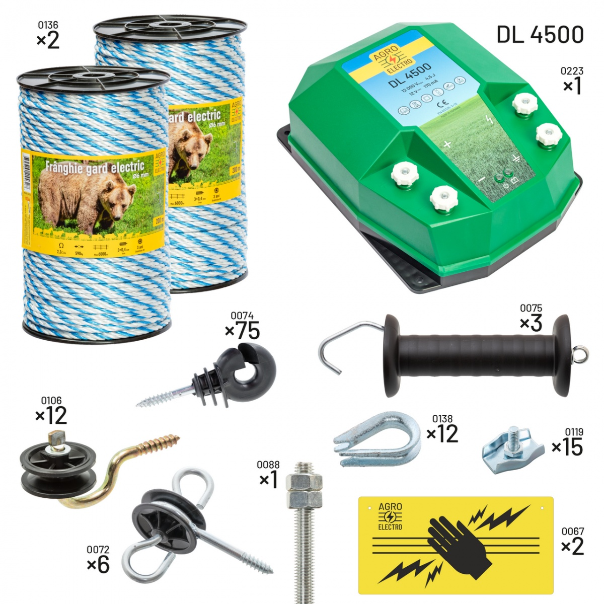 Pachet gard electric pentru apicultori. Cu DL4500, alimentare de la 12V