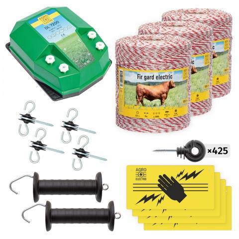 Pachet de bază gard electric 3000 m, 7,2Joule, pentru animale domestice<br/>1.450Lei<br><small>bd-72-3000</small>
