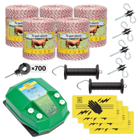 Pachet de bază gard electric 5000 m, 7,2Joule, pentru animale domestice<br/>1.970Lei<br><small>bd-72-5000</small>
