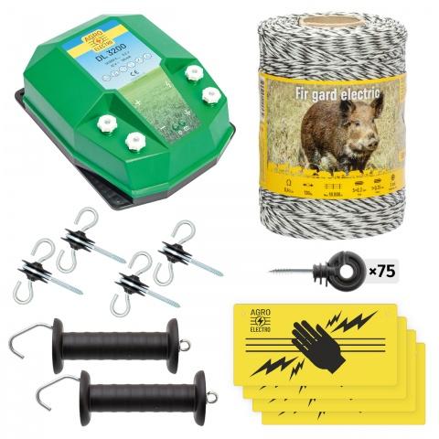 Pachet de bază gard electric 500m, 3,2Joule, pentru animale sălbatice<br/>520Lei<br><small>bw-32-500</small>