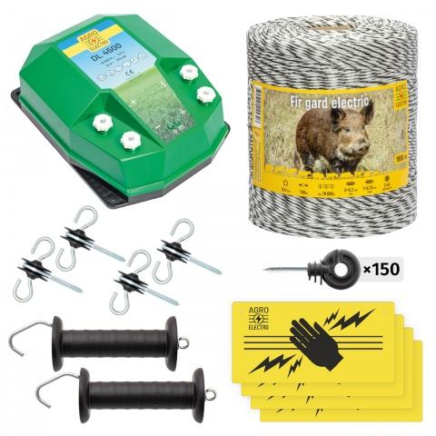Pachet de bază gard electric 1000 m, 4,5Joule, pentru animale sălbatice<br/>720Lei<br><small>bw-45-1000</small>