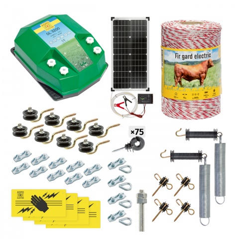 Pachet gard electric complet 500m, 3,2Joule, cu sistem solar, pentru animale domestice<br/>980Lei<br><small>cd-32-500-s</small>