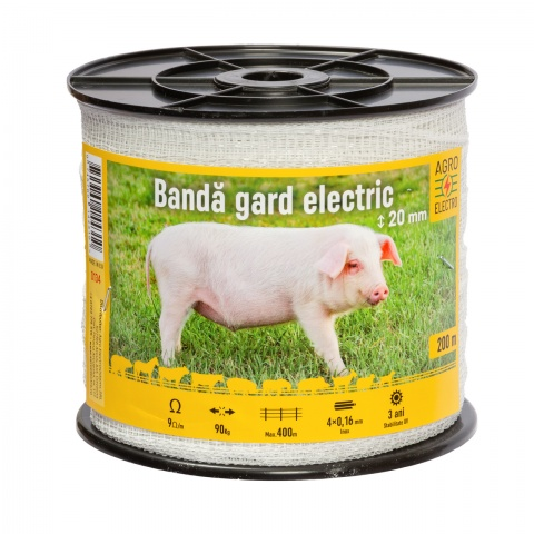 0134 - Bandă gard electric - 20 mm - 200 m - 90 kg - 9 Ω/m - 55 Lei