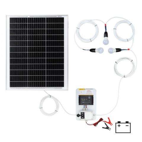 Sistem de iluminat solar 50W cu 3 becuri<br/>600Lei<br><small>0146-3</small>