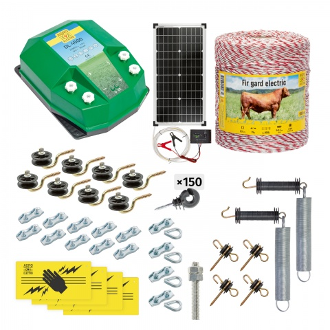 Pachet gard electric complet 1000m, 4,5Joule, cu sistem solar, pentru animale domestice<br/>1.165Lei<br><small>cd-45-1000-s</small>