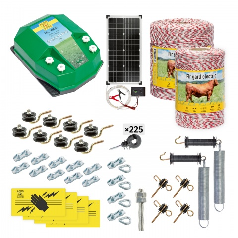 Pachet gard electric complet 1500m, 4,5Joule, cu sistem solar, pentru animale domestice<br/>1.300Lei<br><small>cd-45-1500-s</small>