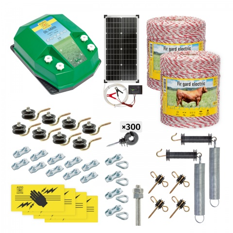 Pachet gard electric complet 2000m, 4,5Joule, cu sistem solar, pentru animale domestice<br/>1.420Lei<br><small>cd-45-2000-s</small>
