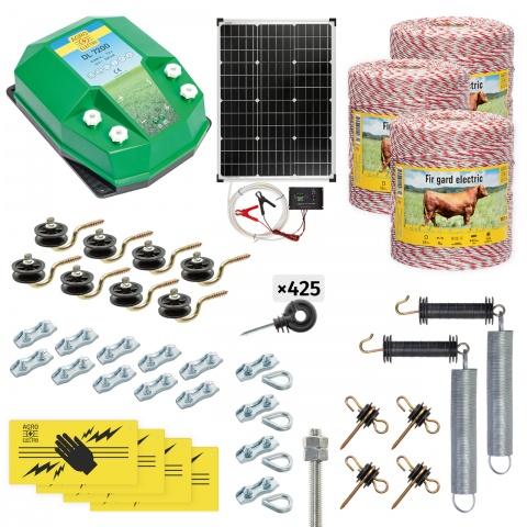 Pachet gard electric complet 3000m, 7,2Joule, cu sistem solar, pentru animale domestice<br/>1.920Lei<br><small>cd-72-3000-s</small>