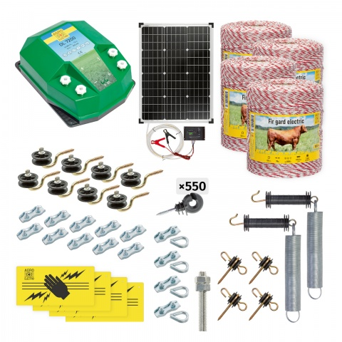 Pachet gard electric complet 4000m, 7,2Joule, cu sistem solar, pentru animale domestice<br/>2.170Lei<br><small>cd-72-4000-s</small>