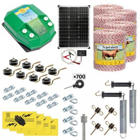 Pachet gard electric complet 5000m, 7,2Joule, cu sistem solar, pentru animale domestice<br/>2.440Lei<br><small>cd-72-5000-s</small>