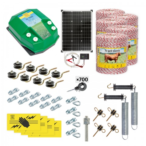 Pachet gard electric complet 5000m, 7,2Joule, cu sistem solar, pentru animale domestice<br/>2.560Lei<br><small>cd-72-5000-s</small>