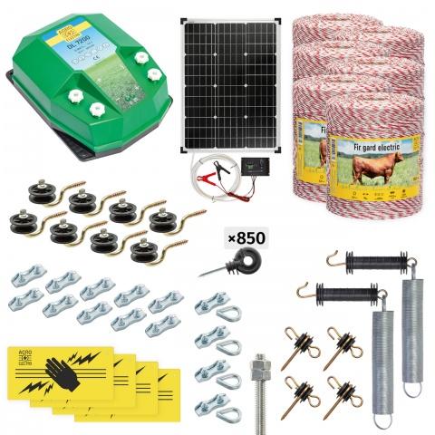 Pachet gard electric complet 6000m, 7,2Joule, cu sistem solar, pentru animale domestice<br/>2.710Lei<br><small>cd-72-6000-s</small>