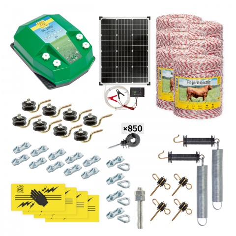 Pachet gard electric complet 6000m, 7,2Joule, cu sistem solar, pentru animale domestice<br/>2.830Lei<br><small>cd-72-6000-s</small>