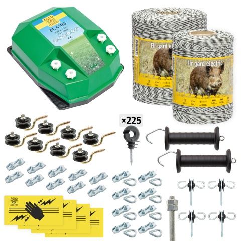 Pachet gard electric complet 1500 m, 4,5 Joule, pentru animale sălbatice<br/>1.000 Lei<br><small>cw-45-1500-0</small>