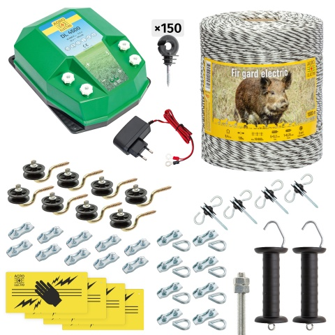Pachet gard electric complet 1000m, 4,5Joule, 230V, pentru animale sălbatice<br/>885Lei<br><small>cw-45-1000-a</small>