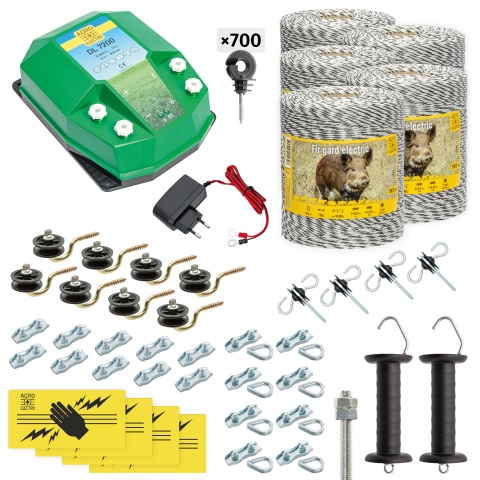 Pachet gard electric complet 5000m, 7,2Joule, 230V, pentru animale sălbatice<br/>2.355Lei<br><small>cw-72-5000-a</small>