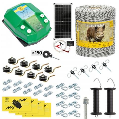 Pachet gard electric complet 1000m, 4,5Joule, cu sistem solar, pentru animale sălbatice<br/>1.200Lei<br><small>cw-45-1000-s</small>