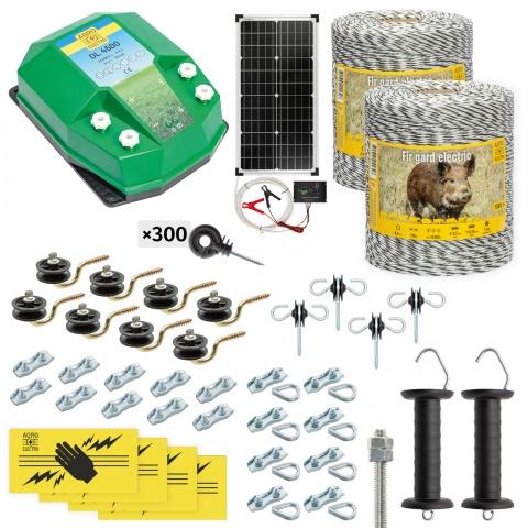 Pachet gard electric complet 2000m, 4,5Joule, cu sistem solar, pentru animale sălbatice<br/>1.520Lei<br><small>cw-45-2000-s</small>