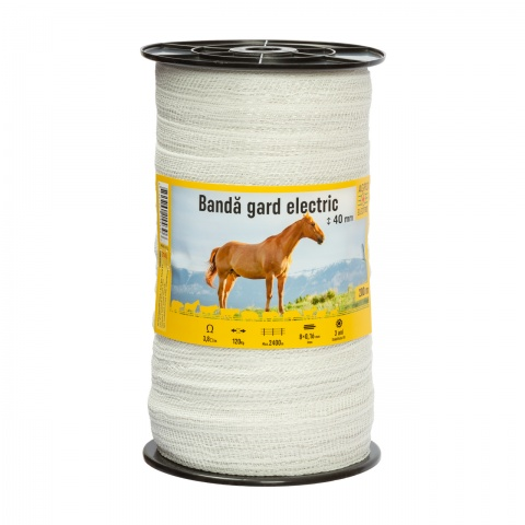 Bandă gard electric - 40 mm - 200 m - 120 kg - 3,8 Ω/m<br/>85 Lei<br><small>0145</small>