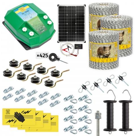 Pachet gard electric complet 3000m, 7,2Joule, cu sistem solar, pentru animale sălbatice<br/>2.180Lei<br><small>cw-72-3000-s</small>