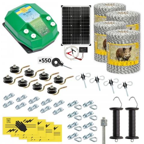 Pachet gard electric complet 4000m, 7,2Joule, cu sistem solar, pentru animale sălbatice<br/>2.360Lei<br><small>cw-72-4000-s</small>