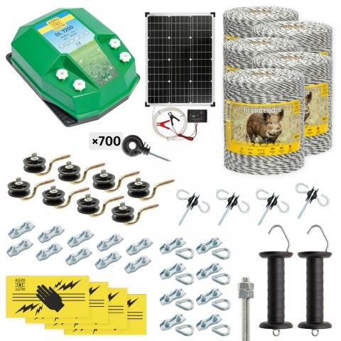 Pachet gard electric complet 5000m, 7,2Joule, cu sistem solar, pentru animale sălbatice<br/>2.670Lei<br><small>cw-72-5000-s</small>