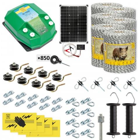 Pachet gard electric complet 6000m, 7,2Joule, cu sistem solar, pentru animale sălbatice<br/>3.110Lei<br><small>cw-72-6000-s</small>