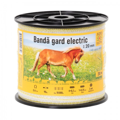 Bandă gard electric - 20 mm - 200 m - 90 kg - 0,4 Ω/m<br/>65 Lei<br><small>0347</small>