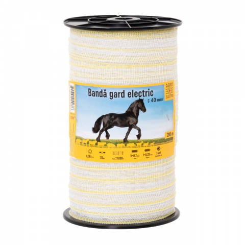 Bandă gard electric - 40 mm - 200 m - 120 kg - 0,38 Ω/m<br/>95 Lei<br><small>0348</small>