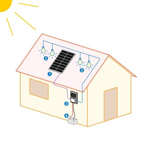 Sistem de iluminat solar 50W cu 4 becuri