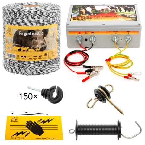 kit-1000m-a - Pachet gard electric cu fir 1000m, pentru 6,25 sau 1,56 Ha - 640Lei