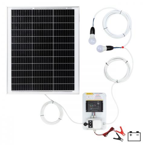 Sistem de iluminat solar 50W cu 2 becuri<br/>550Lei<br><small>0146-2</small>