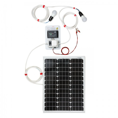 0146-2 - Sistem de iluminat solar 50W cu 2 becuri - 550Lei