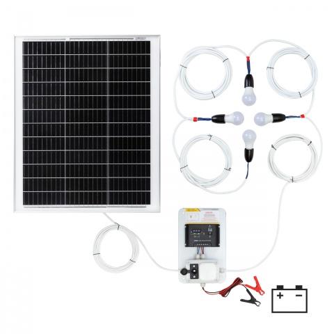 Sistem de iluminat solar 50W cu 4 becuri<br/>650Lei<br><small>0146-4</small>