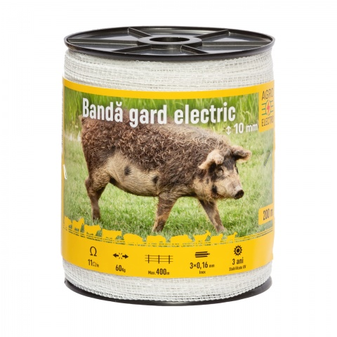 Bandă gard electric - 10 mm - 200 m - 60 kg - 11 Ω/m<br/>48 Lei<br><small>0188</small>