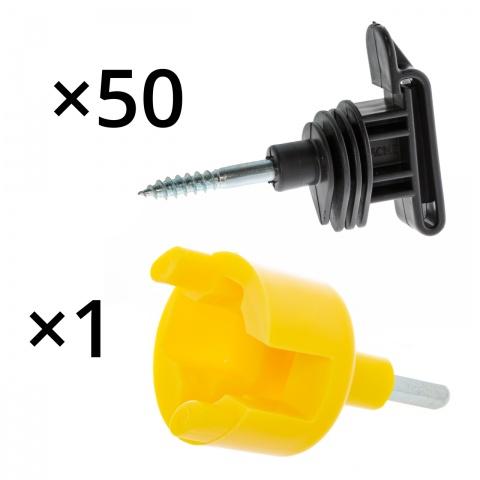 Izolator pentru bandă și fir, 50buc. + dispozitiv de înfiletare