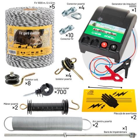 kit-5000m-a - Pachet gard electric cu fir 5000 m, pentru 156 sau 39 Ha - 2.359Lei