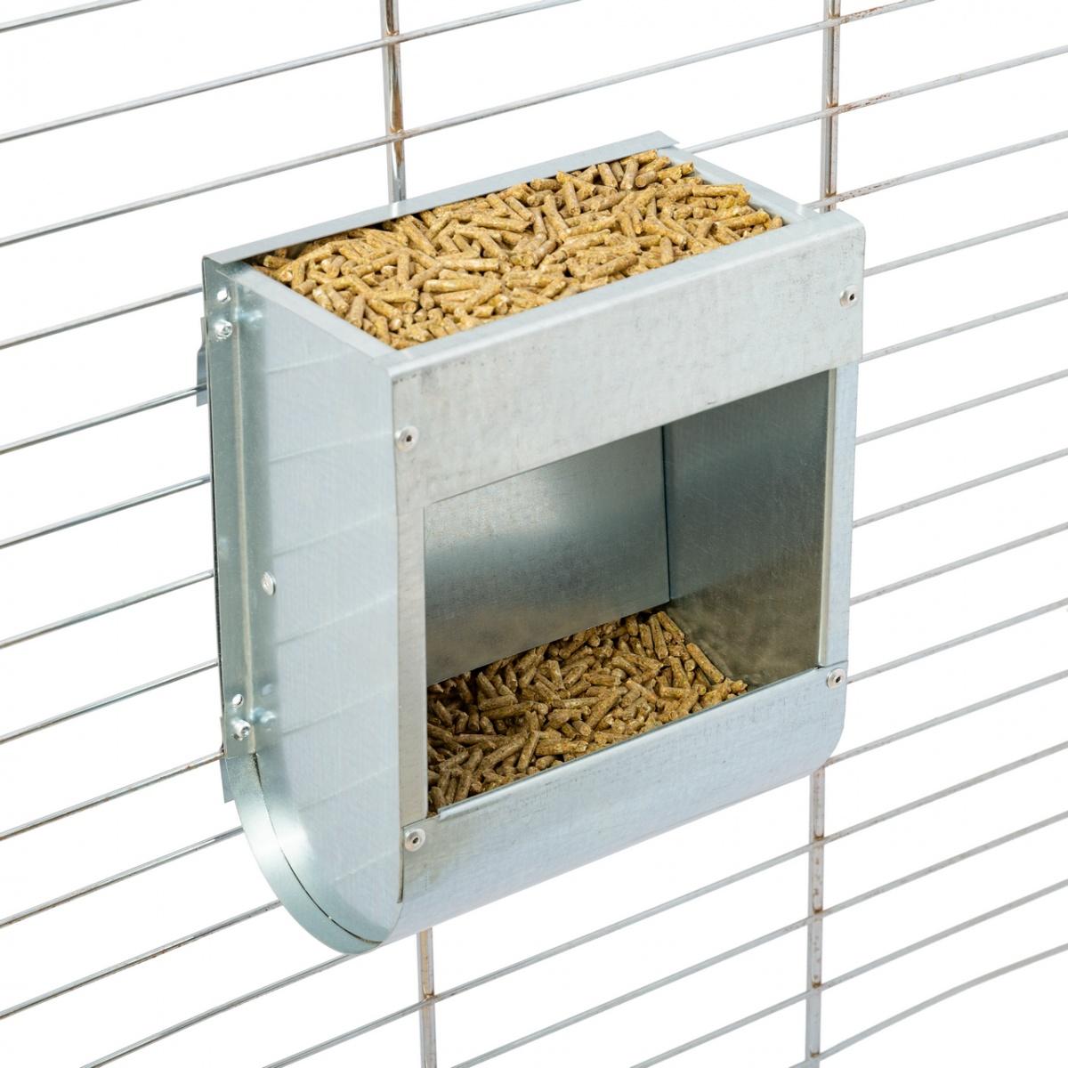 Hrănitoare metalică pentru iepuri, 18cm